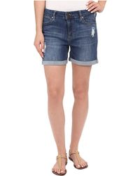 Liverpool Jeans Company Vickie Shorts W/ Destruction In Montauk Mid Blue (montauk Mid Blue) Women's Shorts - Black
