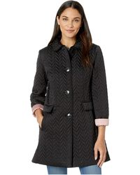 Kate Spade Chevron Quilted Piping Coat - Black