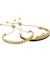 Guess - Duo Bangle Slider Close With Stone Accents Jet, Gold (gold) Bracelet - Lyst