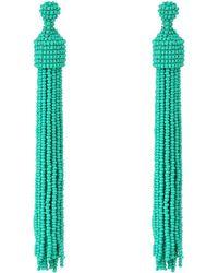 Kenneth Jay Lane | Turquoise Seed Bead Tassel Post Ear Earrings | Lyst