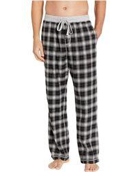 True Grit Crossroads Plaid Flannel Pajama Pants With Heather Knit Trim (black) Pajama