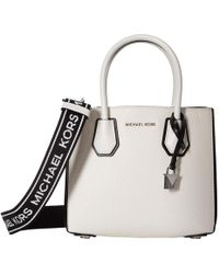 3845908bc525 MICHAEL Michael Kors - Mercer Medium Accordion Messenger (optic  White black) Cross Body