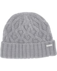 MICHAEL Michael Kors Striped Patchwork Cable Cuff Hat - Gray