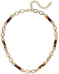 Lauren by Ralph Lauren 16 Tortoise Barrel Frontal Necklace Necklace - Metallic