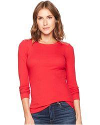Lauren by Ralph Lauren - Zipper-trim Cotton-blend Top (mascarpone Cream) Women's Clothing - Lyst