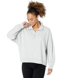 Dylan By True Grit Shay Double Fleece Drop Shoulder Zip-up Sweatshirt - Gray