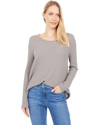 Dylan By True Grit Soft Brushed Waffle Simple Long Sleeve Crew - Gray
