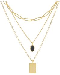 Madewell Black Onyx Layer Necklace Pack - Brown