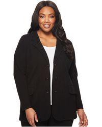 Lauren by Ralph Lauren Plus Size Knit Sweater Blazer - Black