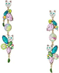 Betsey Johnson - Colorful Stone And Cat Cluster Linear Earrings (multi) Earring - Lyst