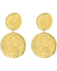 Kenneth Jay Lane - Satin Gold Coin Double Drop Pierced Ear Earrings - Lyst