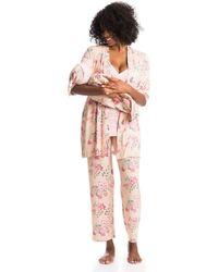 Everly Grey Analise Maternity/nursing Mommy Me Five-piece Pj Set - White