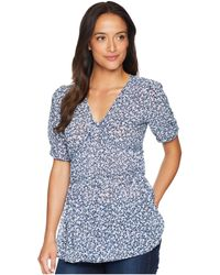 MICHAEL Michael Kors - Collage Floral Short Sleeve Top (true Navy/light Chambray) Women's Clothing - Lyst
