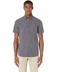 454bee99 Ted Baker - Enyone Short Sleeve Hex Line Print Shirt (navy) Men's Clothing -