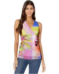 Fuzzi Sleeveless V-neck Patch Print Top - Pink