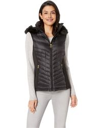 MICHAEL Michael Kors - Zip Front Knit And Down Vest A820141g (black) Women's Vest - Lyst