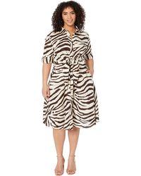 Lauren by Ralph Lauren Plus Size Print Linen Shirtdress - Brown
