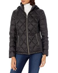 Lucky Brand Short Packable Down Coat With Quilt Detail - Black