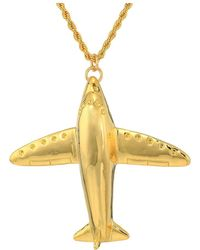 Kenneth Jay Lane - 32 Gold Plane Pin/pendant Necklace (white Pearl/silver/crystal) Necklace - Lyst