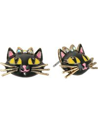 Betsey Johnson - Enchanted Forest Cat Stud Earrings (pink) Earring - Lyst