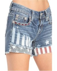 Miss Me American Mid-rise Shorts - Blue