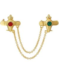 Kenneth Jay Lane - Centers Airplanes Pin W/ Gold Chain Connectors (polished Gold/emerald/ruby) Ring - Lyst