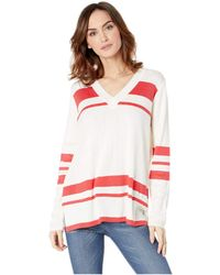 079498039ef5d Calvin Klein - V-neck With Stripes (watermelon) Women s Clothing - Lyst