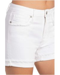 Miss Me Frayed High-rise Shorts - White