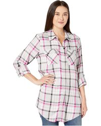 Vince Camuto Long Sleeve Plaid Highlight Two-pocket Tunic - Pink
