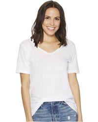 Michael Stars - Supima Cotton Slub Short Sleeve With Raw Edge (white) Women's Clothing - Lyst
