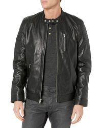 Lamarque Eito Quilted Shoulder Lambskin Leather Racing Collar Biker Jacket - Black