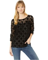 Mod-o-doc - Diamond Chenille Lace 3/4 Sleeve Ballet Neck Top (black) Women's Clothing - Lyst
