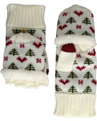 San Diego Hat Company Kng3475 Tree And Hearts Pop Over Gloves - White