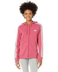 adidas Essentials 3-stripes Full-zip Hoodie Clothing - Pink