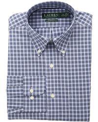 Lauren by Ralph Lauren - Classic Fit No-iron Plaid Cotton Dress Shirt (bleu Marin/bianca) Men's Long Sleeve Button Up - Lyst