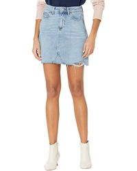 PAIGE Aideen Skirt W/ Seamed Coin Pocket Raw Hem In Razz Distressed - Blue