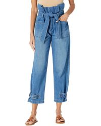 Blank NYC Paper Bag Tapered Pants With Self-belt In Dancing Queen - Black