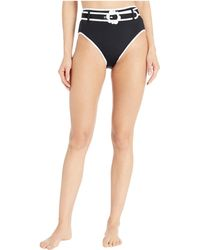 Kate Spade Daisy Buckle High-waist Bikini Bottoms - Black