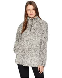 Dylan By True Grit - Frosty Tipped Pile 1/4 Zip Stadium Pullover (ivory) Women's Clothing - Lyst