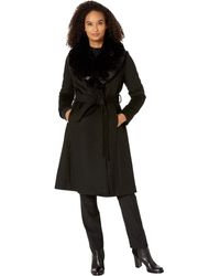 Lauren by Ralph Lauren Wool Wrap With Faux Fur - Black