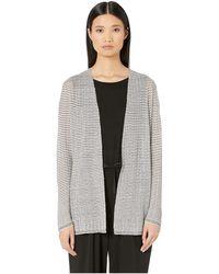 Eileen Fisher - Fine Organic Linen Crepe Knit Simple Cardigan - Lyst