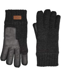 UGG Knit Tech Leather Palm Gloves With Sherpa Lining - Gray