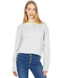 Michael Stars Ringer Pullover Contrast Neck Sweater - Gray