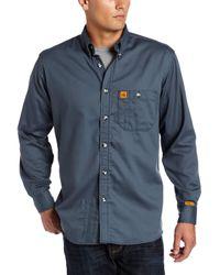 Wrangler Fr Flame Resistant Long Sleeve One Pocket Work Shirt - Green