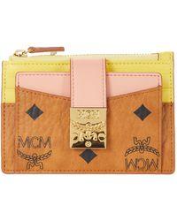 MCM Patricia Visetos Leather Block Card Case Mini - Pink