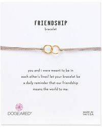 Dogeared Friendship Double Linked Rings Silk Bracelet Bracelet - White