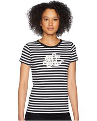 Lauren by Ralph Lauren - Monogram Striped T-shirt (true Sapphire/soft White) Women's T Shirt - Lyst