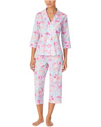 Lauren by Ralph Lauren Classic Wovens 3/4 Sleeve Notch Collar Capri Pants Pajama Set - Blue