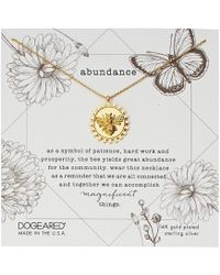 Dogeared - Abundance, Decorative Bee Disc Necklace (gold) Necklace - Lyst