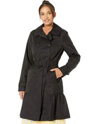 Kate Spade Cotton Blend Trench Coat With Waist Tie - Black